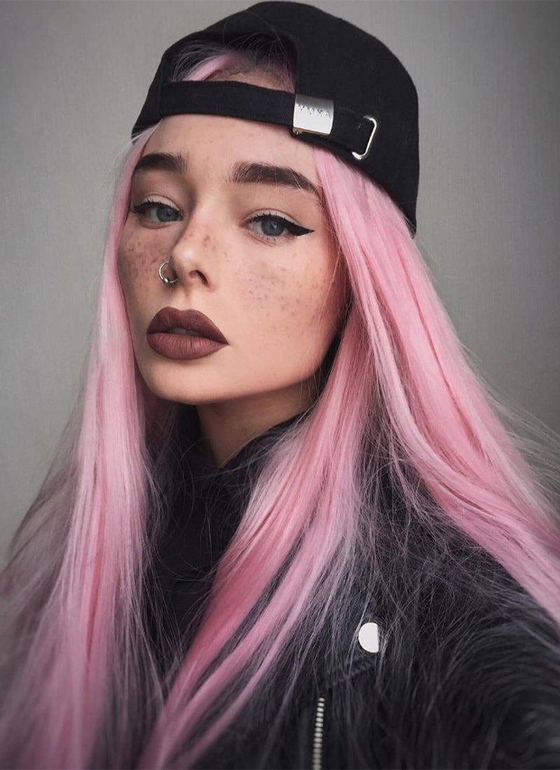 Straight Pink Lace Front Synthetic Wig LF857