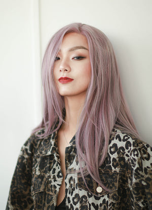 Ash Purple Straight Lace Front Synthetic Wig LF1299