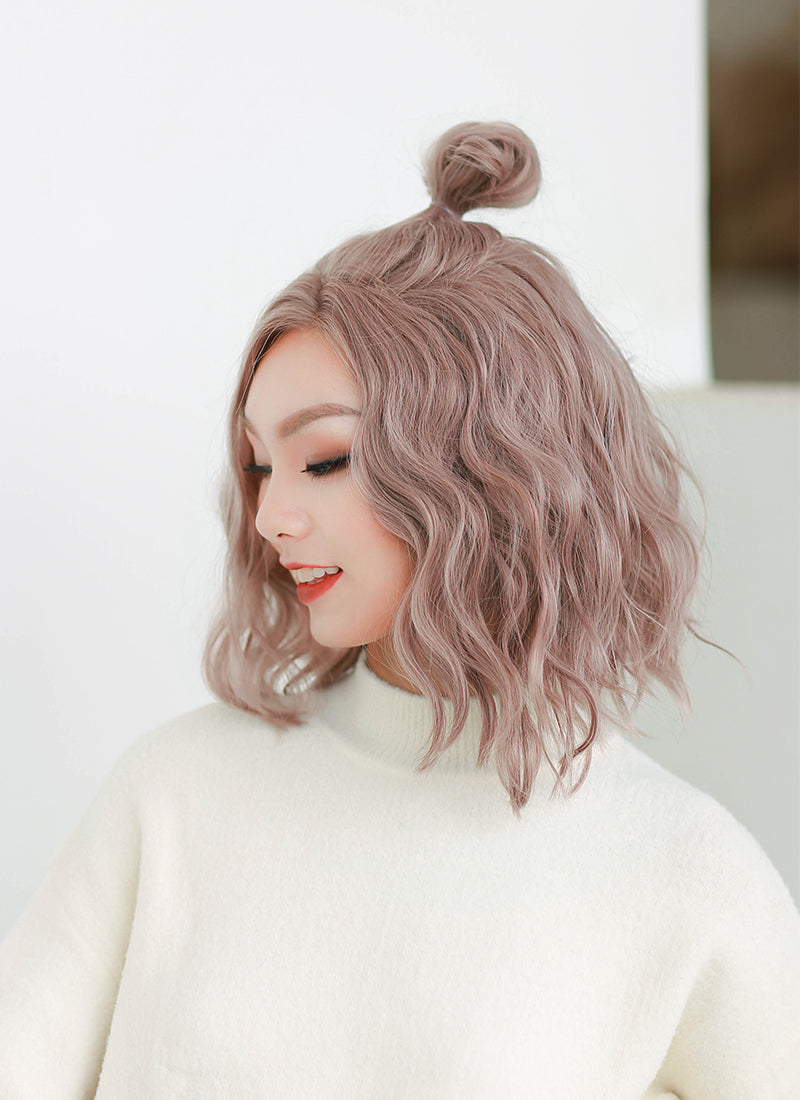 Pastel Pale Plum Wavy Lace Front Synthetic Wig LF3119