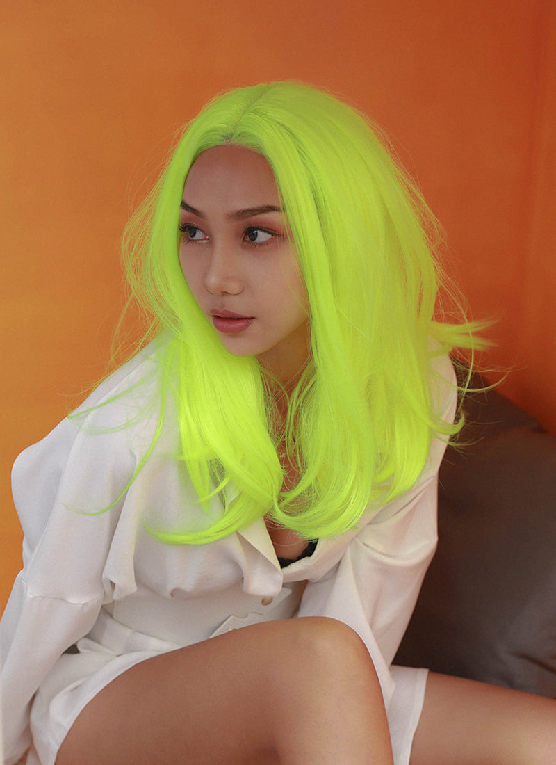 Neon Yellow Straight Bob Lace Front Synthetic Wig LF475