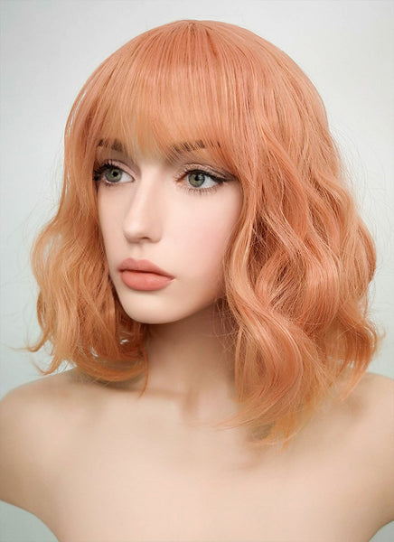 "12"" Short Wavy Pinkish Orange Fashion Synthetic Hair Wig CM197"