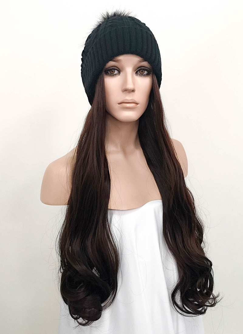 Black Beanie With Wavy Brunette Hair Attached CW001