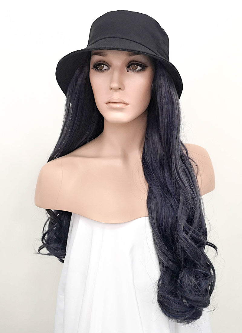 Black Bucket Hat With Wavy Ash Blue Hair Attached Cw004 Wig Is Fashion