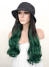 Black Bucket Hat With Wavy Black Green Ombre Hair Attached CW005