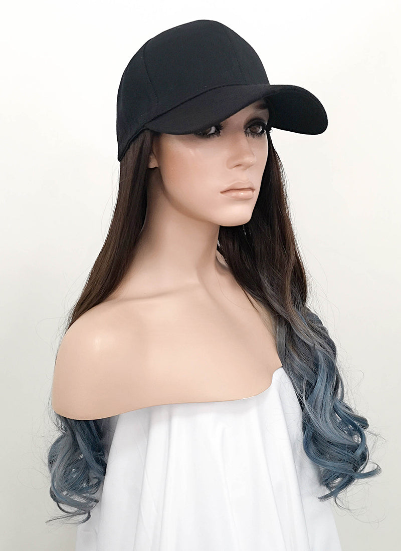 Black Baseball Cap With Wavy Dark Brown Blue Ombre Hair Attached CW008