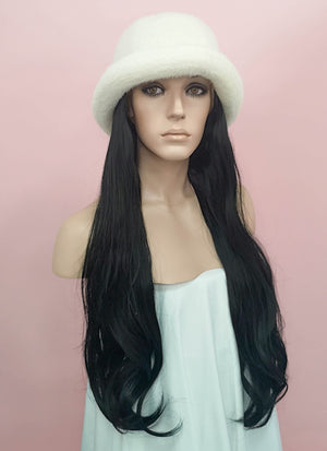 White Bucket Hat With Straight Black Hair Attached CW009