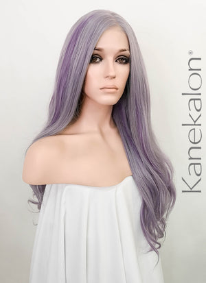 Purple Mixed Grey Wavy Full Lace Synthetic Wig FL010
