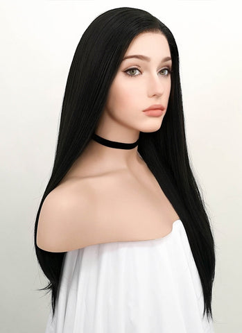 "16"" Medium Straight Black Lace Front Synthetic Hair Wig LF836A"