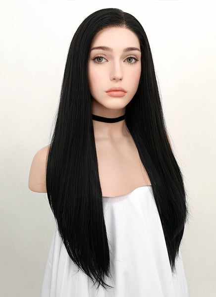 "24"" Long Straight Natural Black Lace Front Synthetic Hair Wig LF003"