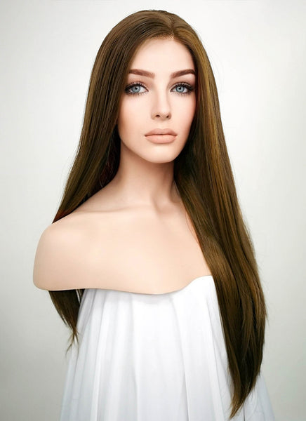 "24"" Long Straight Brown Lace Front Synthetic Hair Wig LF006"