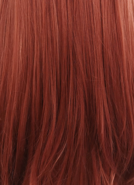 "24"" Long Straight Reddish Brown Lace Front Synthetic Hair Wig LF009"