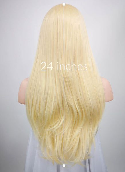 "24"" Long Straight Blonde Lace Front Synthetic Hair Wig LF012"