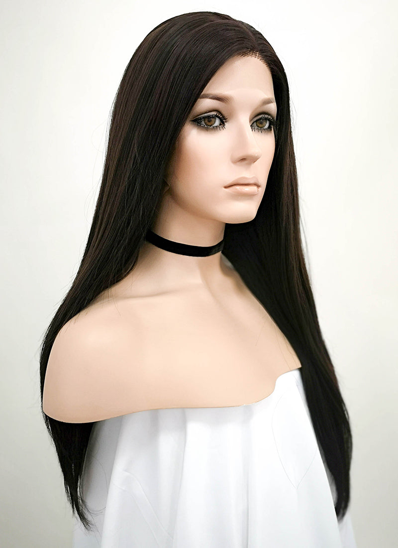 "24"" Long Straight Black Mixed Brown Lace Front Synthetic Hair Wig LF013"