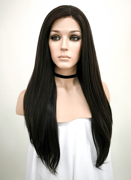 "24"" Long Straight Black Mixed Brown Lace Front Synthetic Hair Wig Kim Kardashian Inspired LF013"