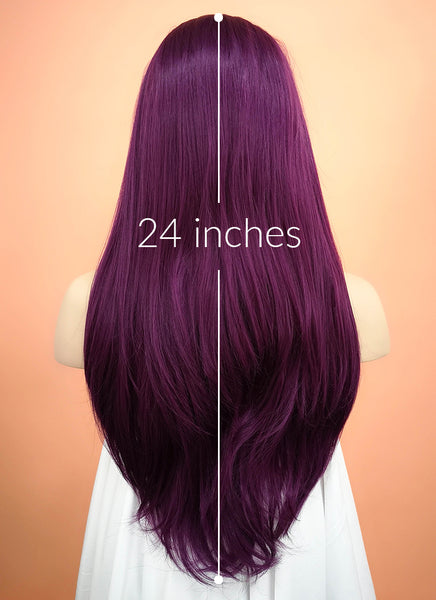 "24"" Long Straight Dark Purple Lace Front Synthetic Hair Wig LF029"