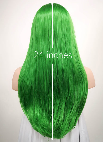 "24"" Long Straight Green Lace Front Synthetic Hair Wig LF031"