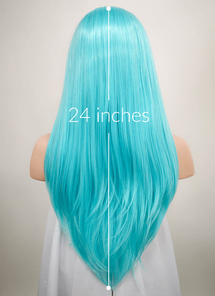 "24"" Long Straight Light Blue Lace Front Synthetic Hair Wig LF036"