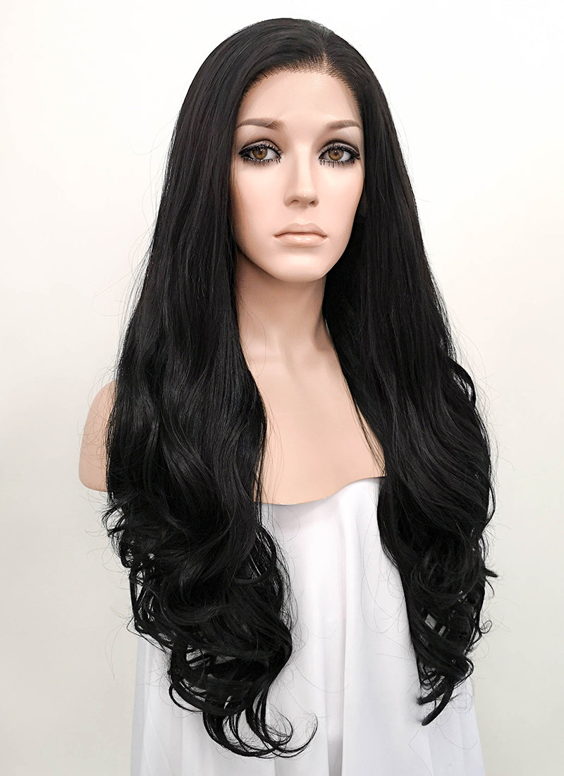 Wavy Natural Black Lace Front Synthetic Wig LF071