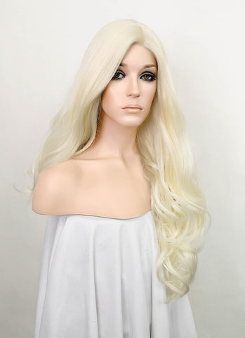 "28"" Long Curly White Platinum Blonde Lace Front Synthetic Hair Wig LF741B"