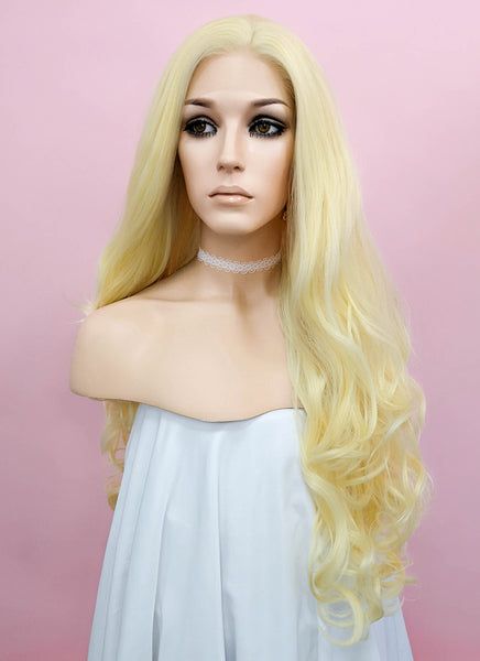 "26"" Long Curly Golden Blonde Lace Front Synthetic Hair Wig LF080"