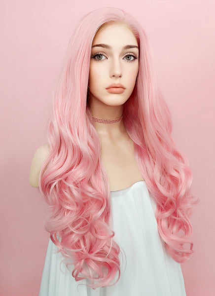 "26"" Long Curly Pink Lace Front Synthetic Hair Wig LF084"