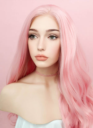 Pastel Pink Wavy Lace Front Synthetic Wig LF084