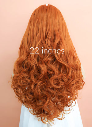 Light Auburn Wavy Lace Front Synthetic Wig LF085E