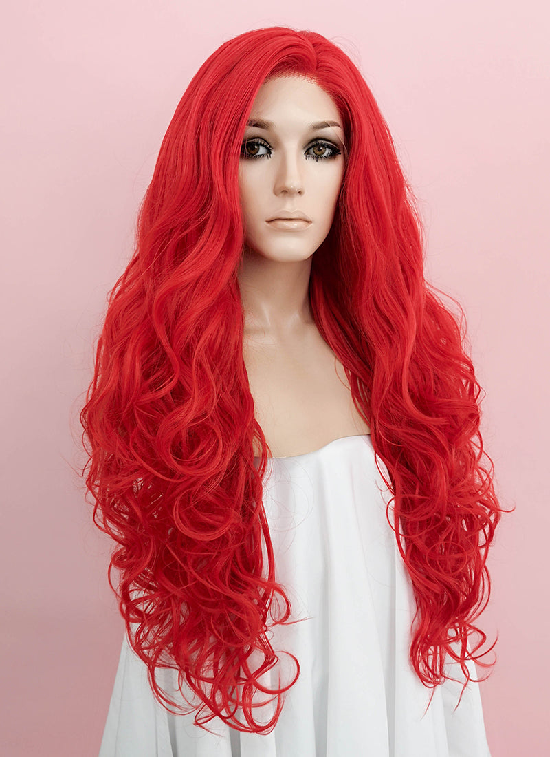 Red Wavy Lace Front Synthetic Wig LF085L