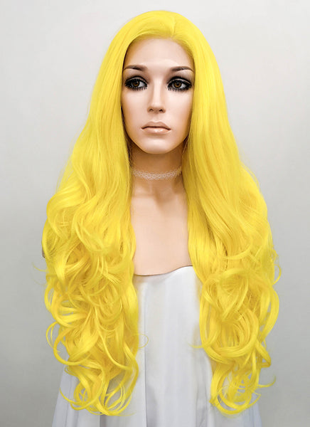 "26"" Long Curly Golden Yellow Lace Front Synthetic Hair Wig LF089"