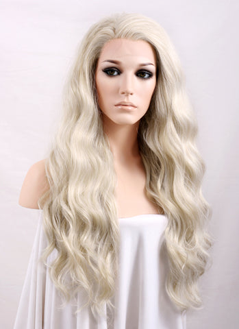 "24"" Long Curly Golden Blonde Lace Front Synthetic Hair Wig LF119"