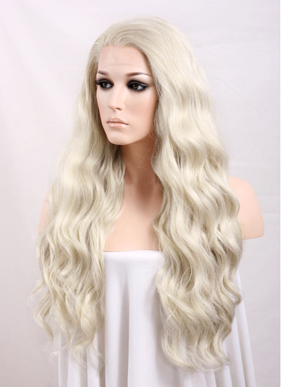 "Long Curly Wavy 24"" Light Ash Blonde Lace Front Synthetic Fashion Wig"
