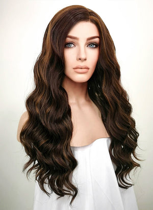 Brunette Wavy Lace Front Synthetic Wig LF105