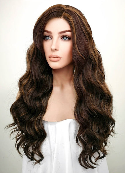 "Long Curly Wavy 24"" Two Tone Brown Lace Front Synthetic Fashion Wig"