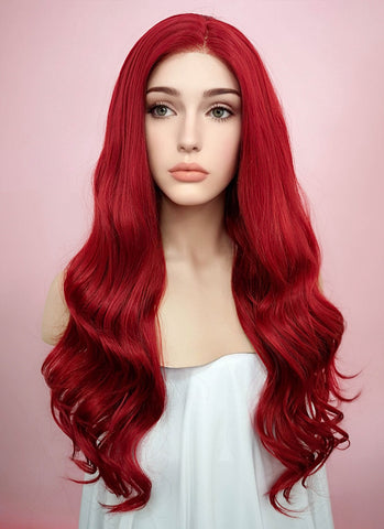"24"" Long Straight Red Lace Front Synthetic Hair Wig LF025"