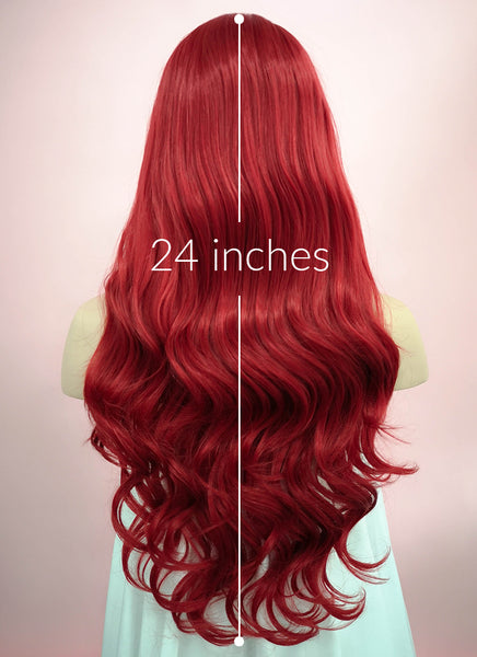 "24"" Long Curly Red Lace Front Synthetic Hair Wig LF123"
