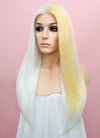 Straight White Mixed Light Blonde Lace Front Synthetic Wig LF1246