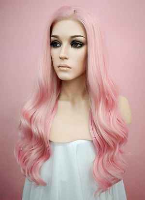 Pastel Pink Wavy Lace Front Synthetic Wig LF124