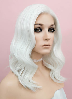 White Wavy Lace Front Synthetic Wig LF1258