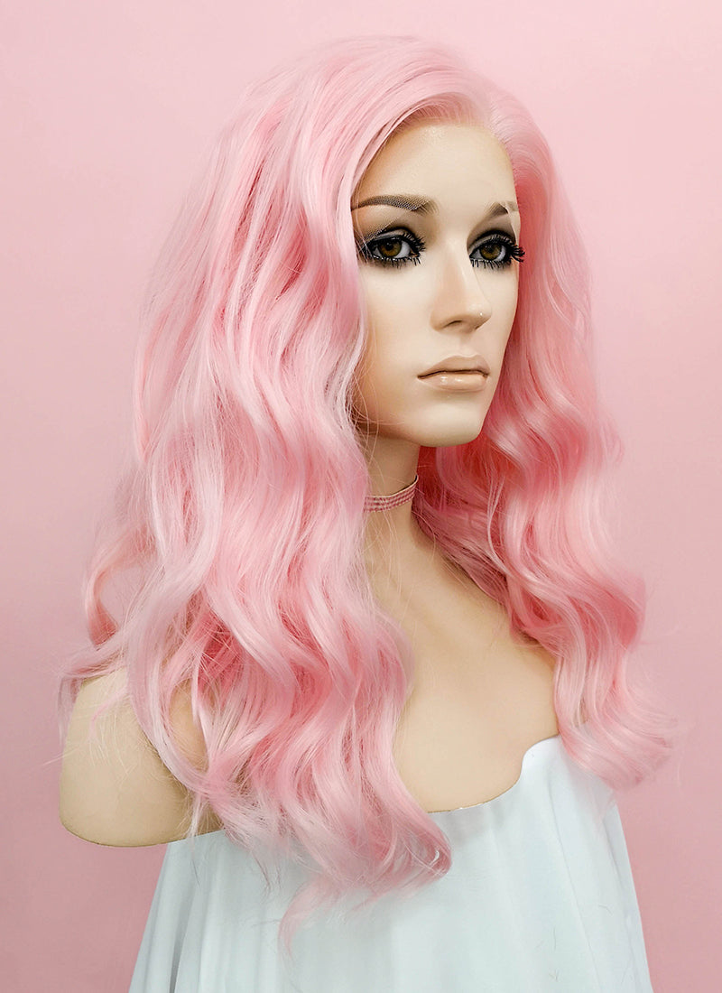 Pastel Pink Wavy Lace Front Synthetic Wig LF1269
