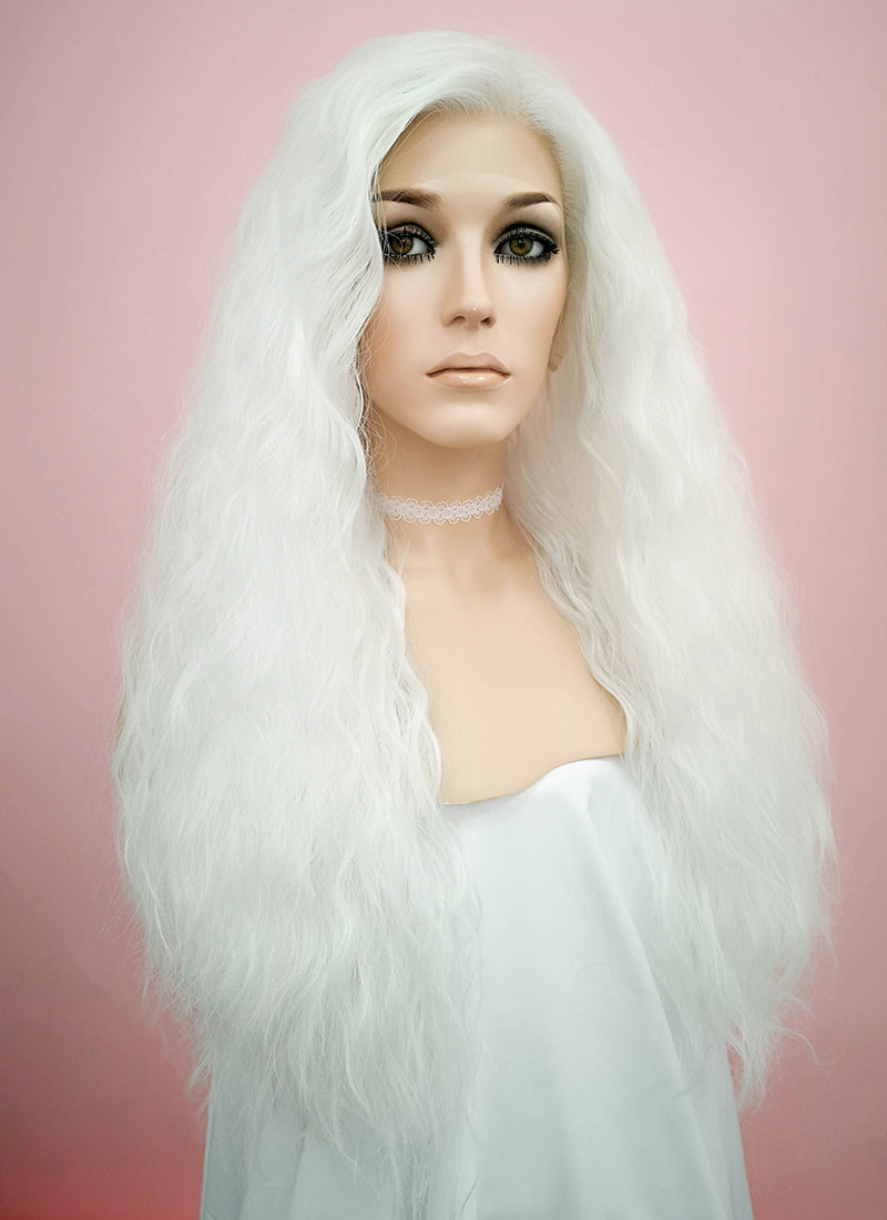 White Wavy Lace Front Synthetic Wig LF1275