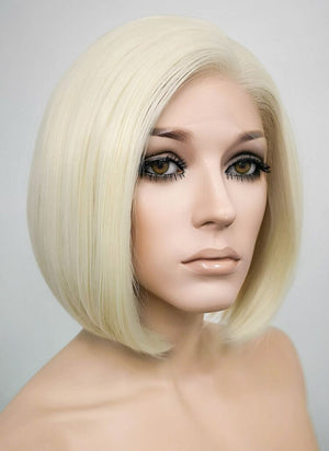 Light Blonde Straight Bob Lace Front Synthetic Wig LF1289