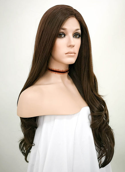"26"" Wavy Dark Brown Lace Front Synthetic Wig LF146"