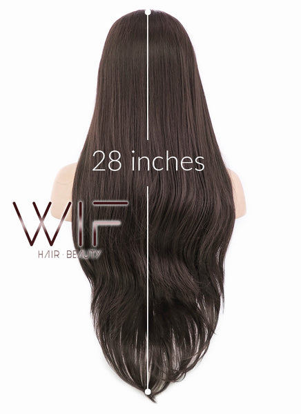 "28"" Long Straight Darker Brown Lace Front Synthetic Hair Wig LF150E"