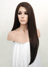 "24"" Long Straight Dark Brown Lace Front Synthetic Wig"