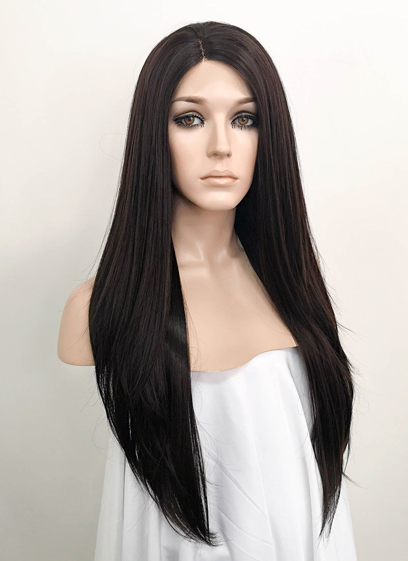 Straight Black Mixed Dark Brown Lace Front Synthetic Wig LF151