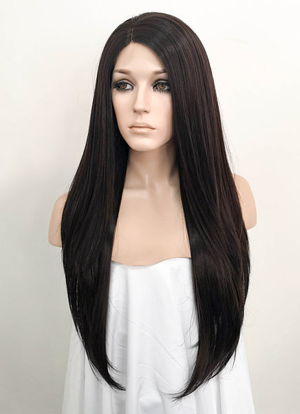 "24"" Long Straight Black Mixed Dark Brown Lace Front Synthetic Hair Wig LF151"
