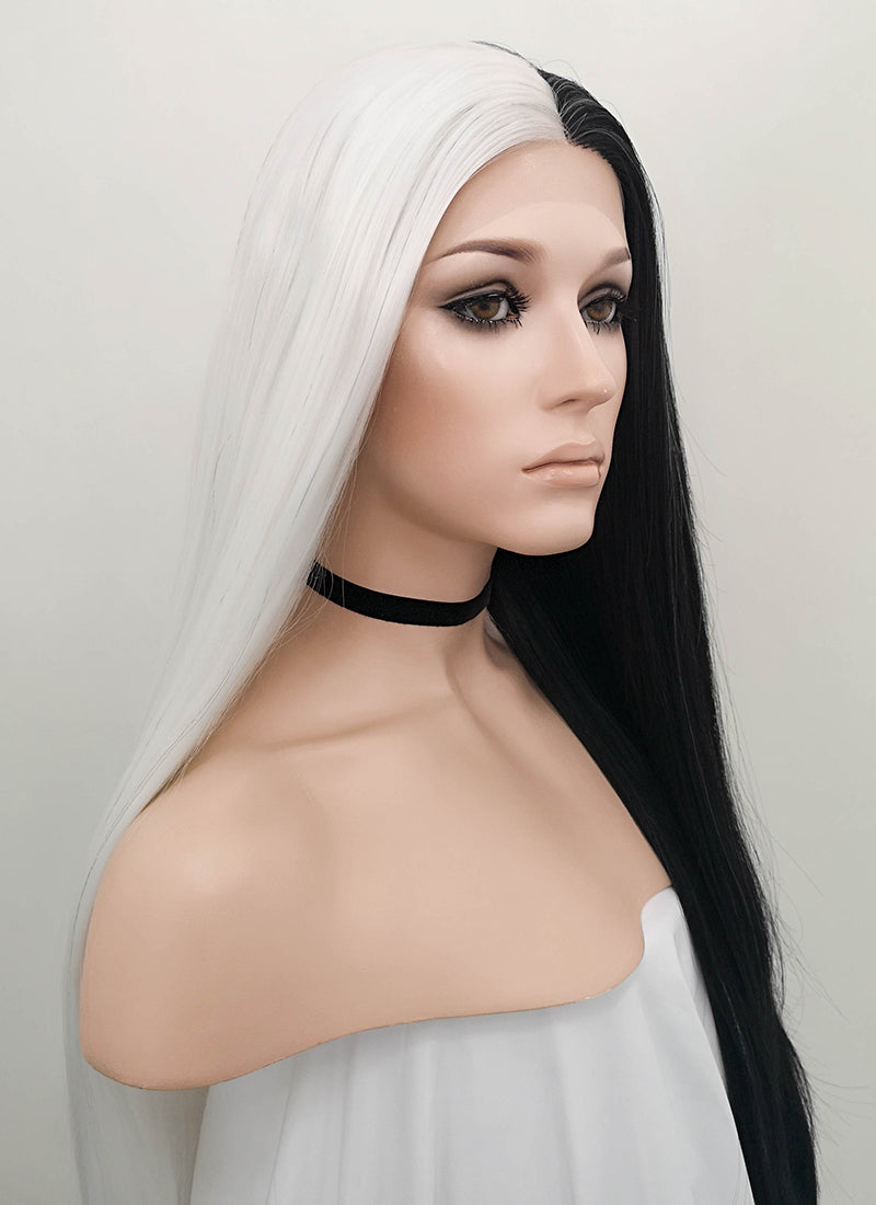White Black Split Color Straight Lace Front Synthetic Wig LF1531B