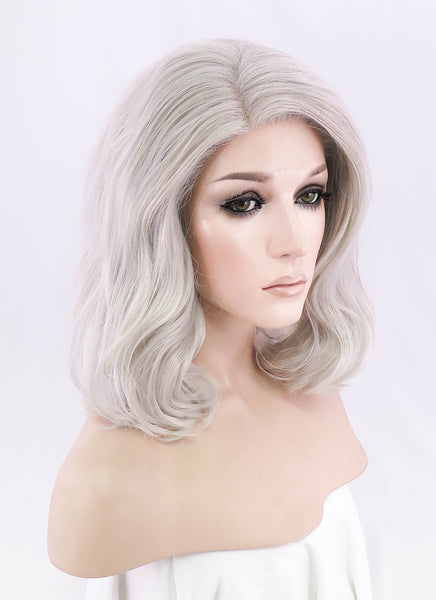 "12"" Short Curly Light Ash Blonde Lace Front Synthetic Hair Wig LF1537"