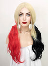 Blonde Harley Quinn Synthetic Red Black Ponytail Wavy Lace Front Wig LF1576A