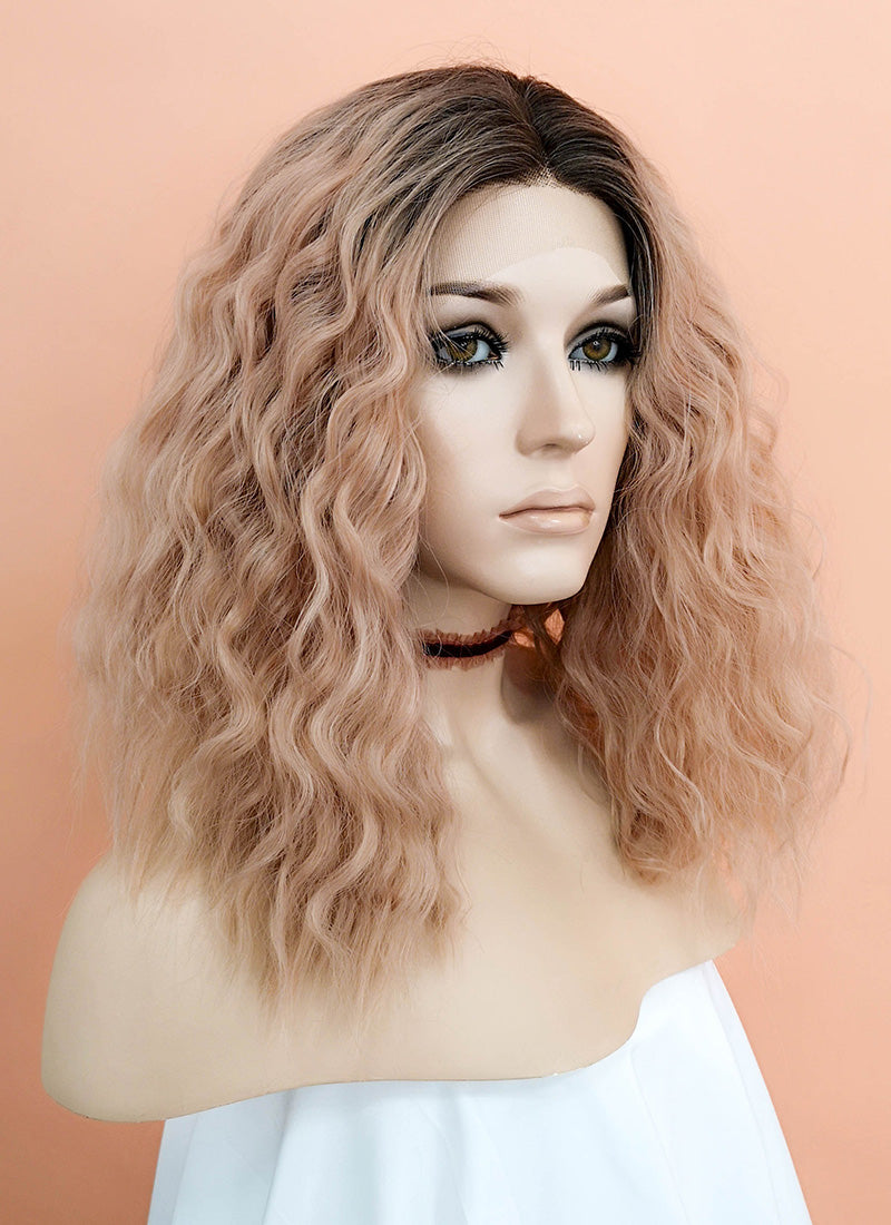 Peach Pink With Dark Roots Curly Lace Front Synthetic Wig LF1583